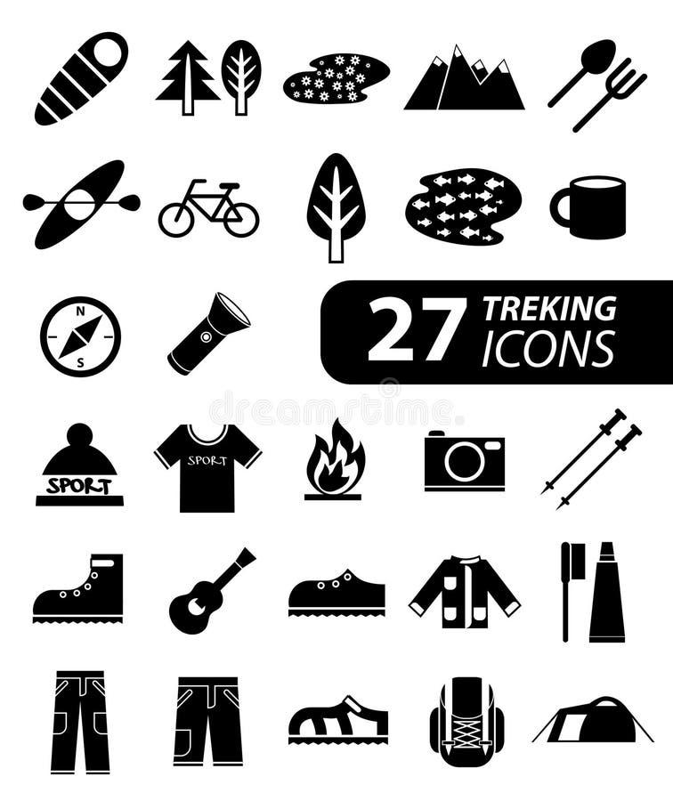 Ensemble de hausse monochromatique plate, de trekking et d'icônes campantes illustration de vecteur
