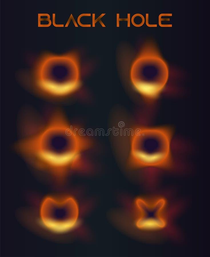 Ensemble de haute qualité d'icônes de vecteur de trou noir illustration libre de droits