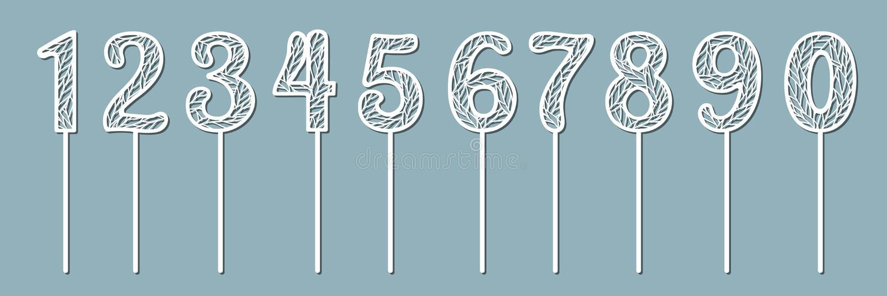 Ensemble de hauts de forme pour l'anniversaire et l'anniversaire Numéro 1 un, 2 deux, 3 trois, 4 quatre, 5 cinq, 6 six, 7 sept, 8 illustration de vecteur