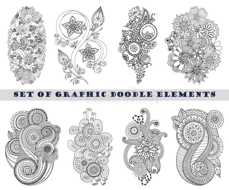 Ensemble de Henna Paisley Mehndi Doodle Element illustration libre de droits