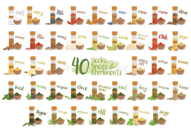 Ensemble de 40 herbes, espèces et condiments culinaires différents dans le style de bande dessinée Illustration de vecteur illustration libre de droits