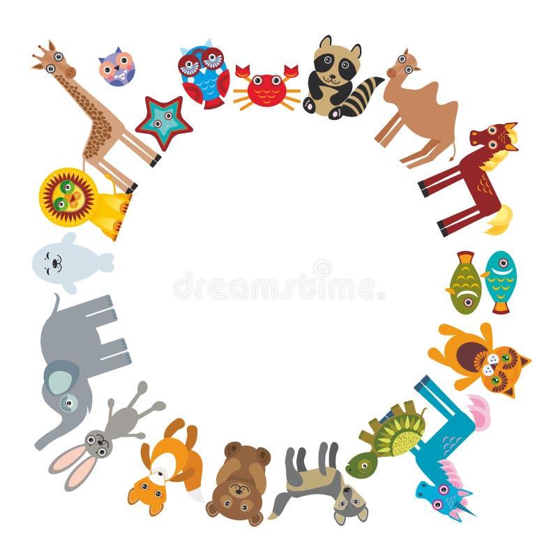 Ensemble de hibou drôle de licorne de tortue de loup de lapin de chameau de lion de cheval de girafe de renard d'éléphant d'ours  illustration stock