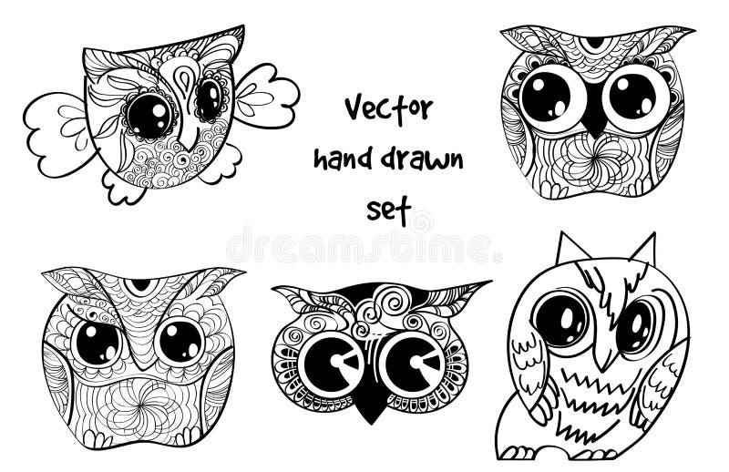 Ensemble de hibou de henné de tatouage illustration libre de droits
