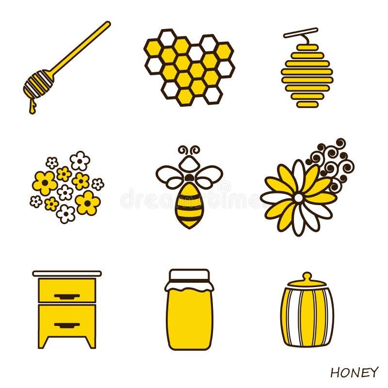 Ensemble de Honey Icons La ligne illusion plate de l'abeille, du miel et du rucher illustration stock