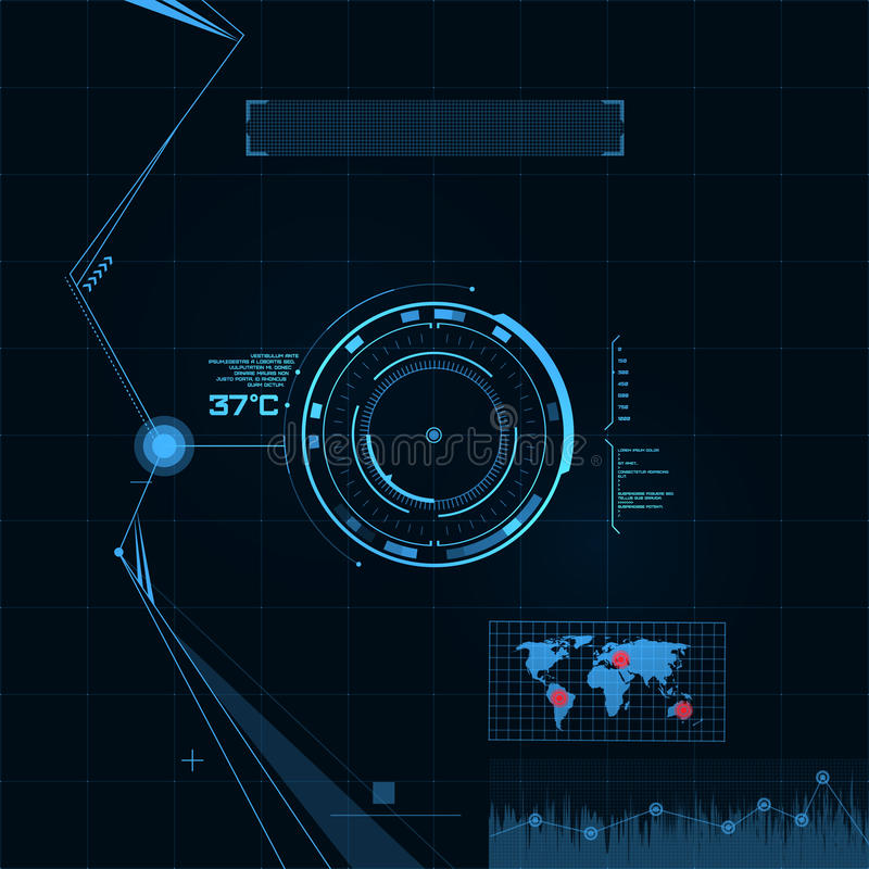Ensemble de HUD et de GUI. Interface utilisateurs futuriste. illustration de vecteur