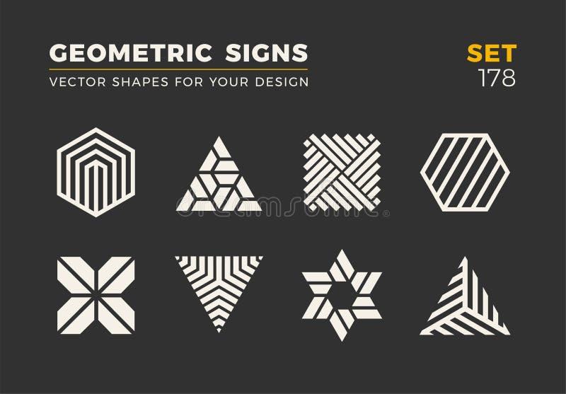 Ensemble de huit formes à la mode minimalistic Emblèmes élégants de logo de vecteur pour votre conception Collection géométrique  illustration stock