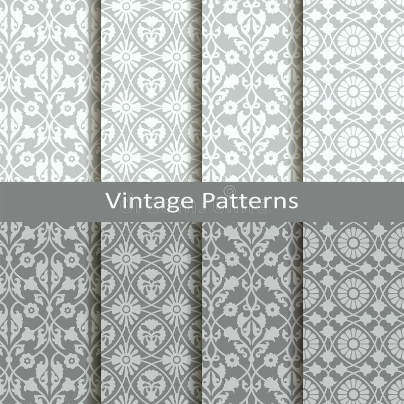 Ensemble de huit modèles de l'arabe de vintage de vecteur conception pour empaqueter, couvertures, textile illustration stock