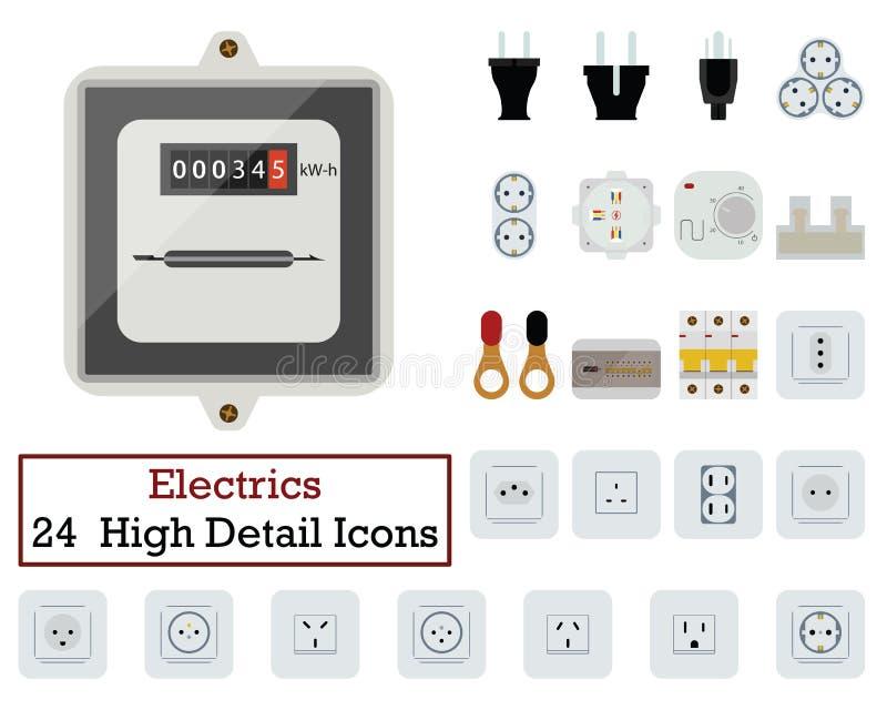 Ensemble de 24 icônes d'électricités illustration stock