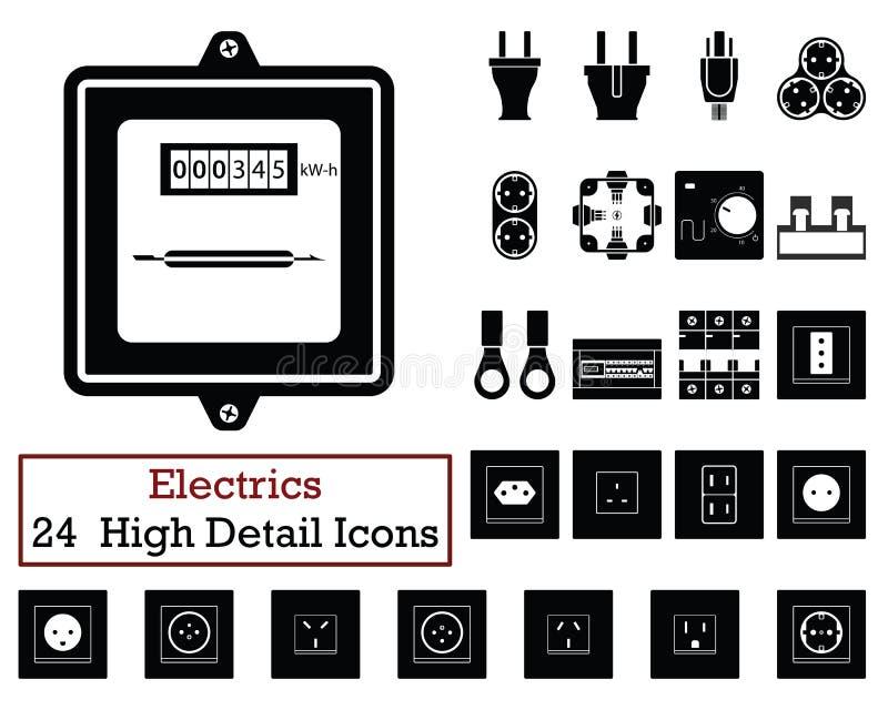Ensemble de 24 icônes d'électricités illustration libre de droits