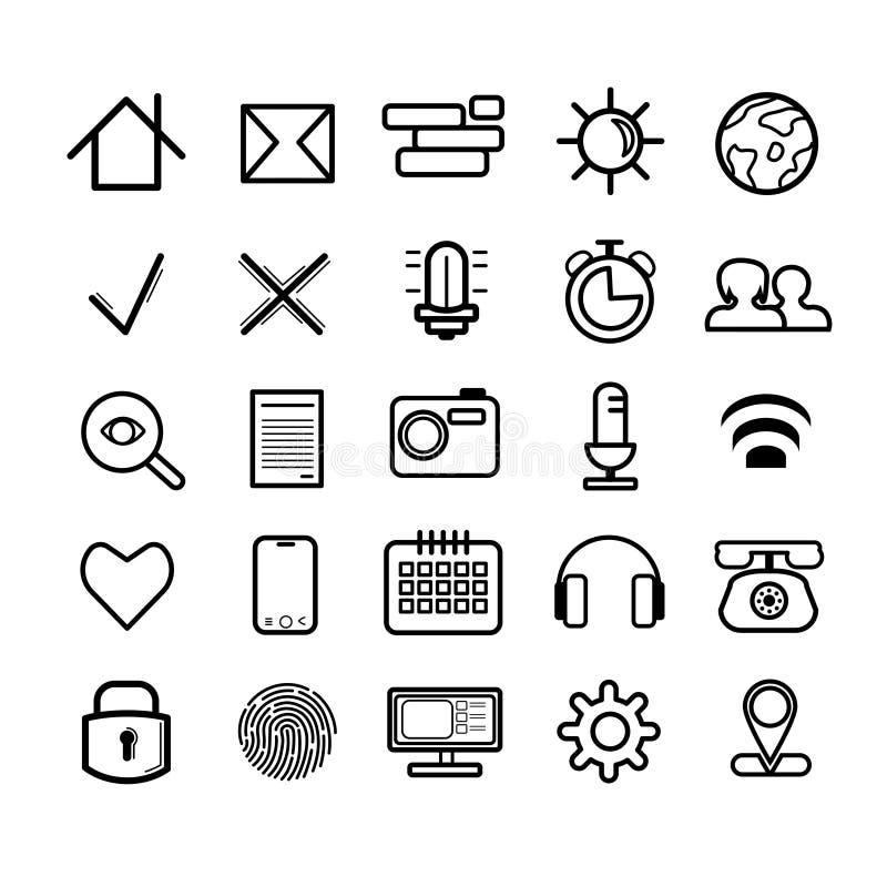 Ensemble de 25 icônes douces noires linéaires illustration libre de droits