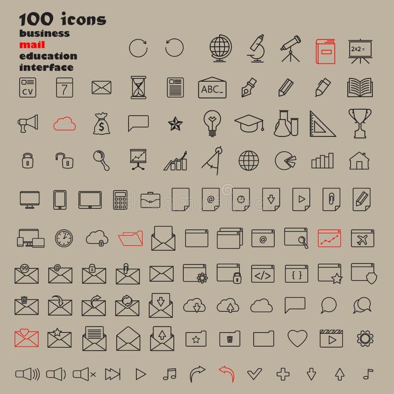 Ensemble de 100 icônes minces modernes minimales de noir de course illustration stock