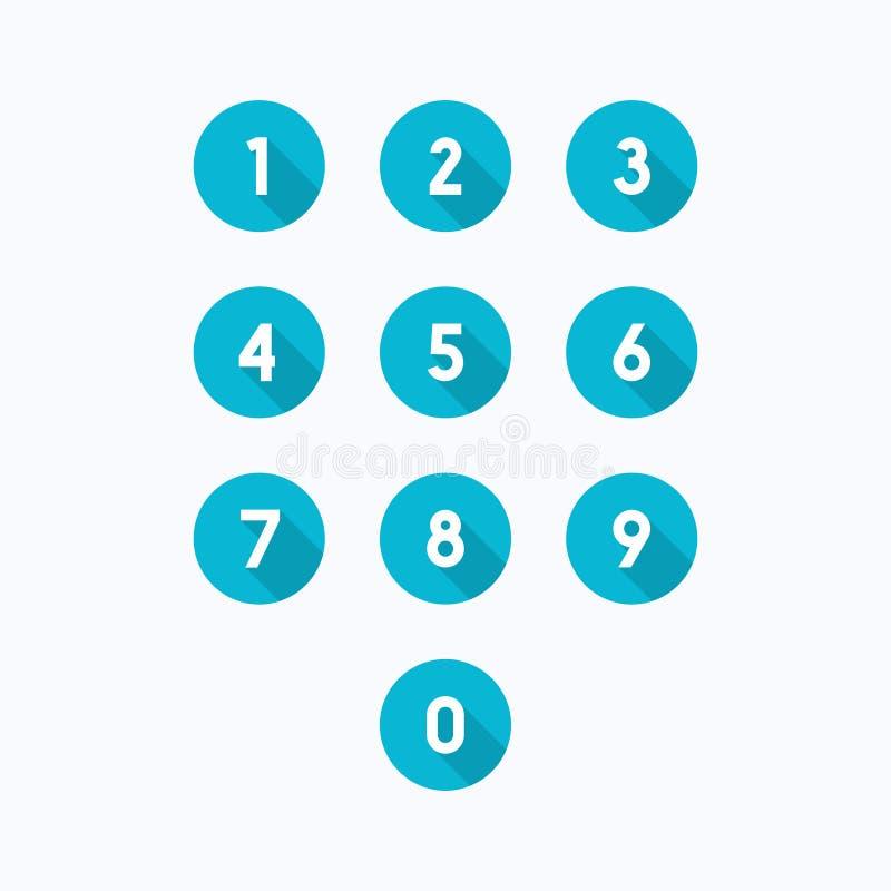 Ensemble de 0-9 icônes de nombre Illustration de vecteur illustration stock