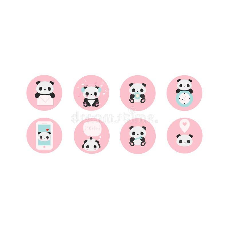 Ensemble de 10 icônes de vecteur avec le panda pour des applications, réseaux, et illustration libre de droits