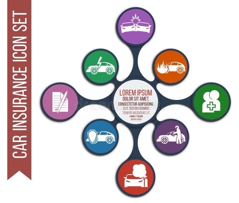 Ensemble de 8 icônes d'assurance auto de vecteur illustration libre de droits