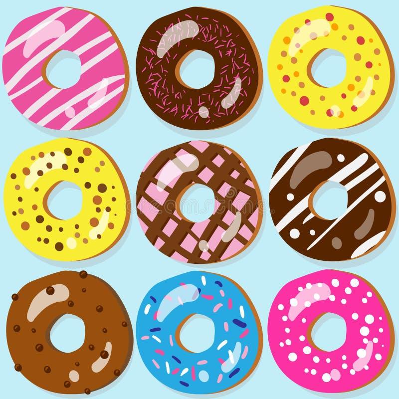 Ensemble de 9 icônes de beignet avec différents écrimages illustration stock