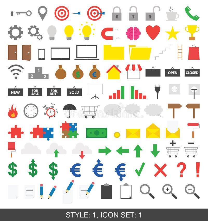 Ensemble de 100 icônes Style 1, ensemble 1 illustration libre de droits