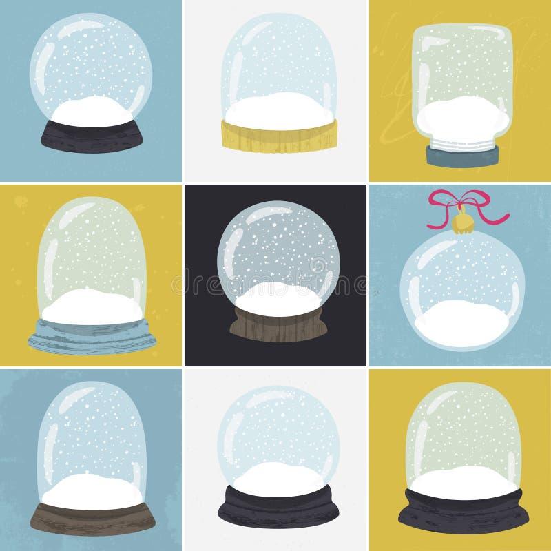 Ensemble de 9 illustrations avec le globe tiré par la main de neige illustration libre de droits