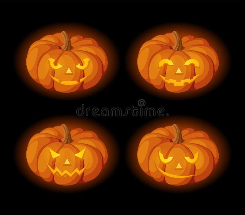 Ensemble de Jack-O-lanternes allumées (potirons de Halloween) Vecteur EPS-10 illustration de vecteur