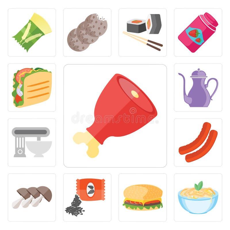 Ensemble de jambon, pâtes, Hamburguer, graines, champignons, saucisse, mélangeur, illustration stock