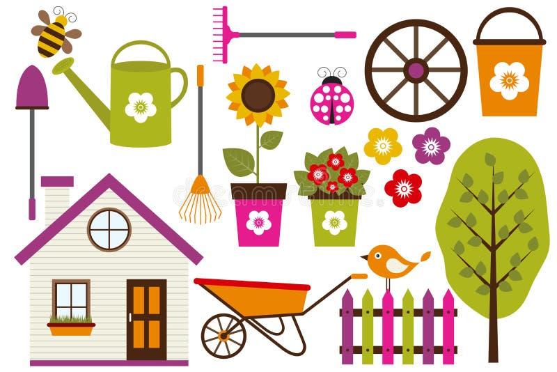 Ensemble de jardin illustration de vecteur