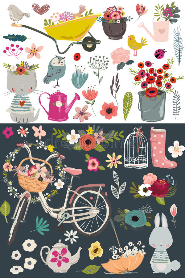 Ensemble de jardin de vintage illustration libre de droits
