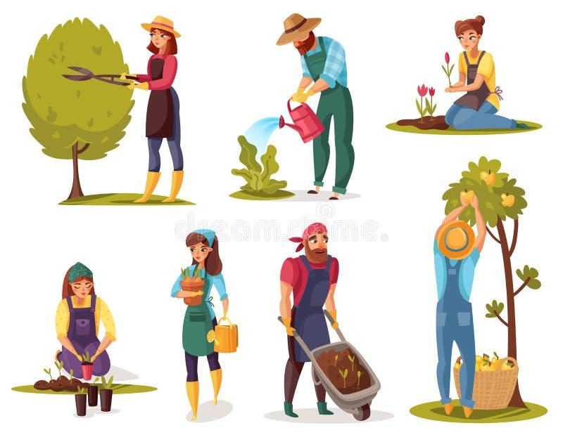 Ensemble de jardinage de bande dessin?e illustration de vecteur