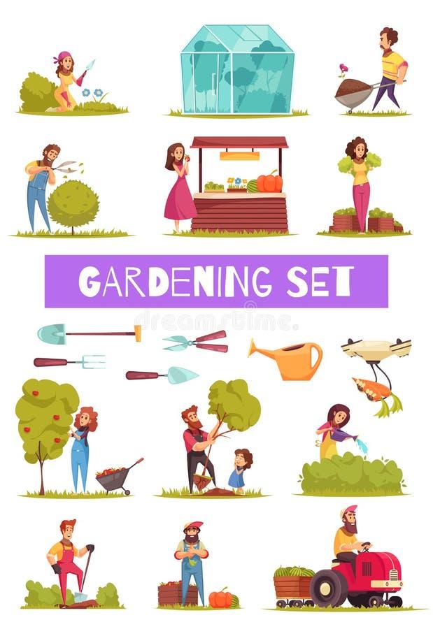 Ensemble de jardinage d'icônes de bande dessinée illustration de vecteur
