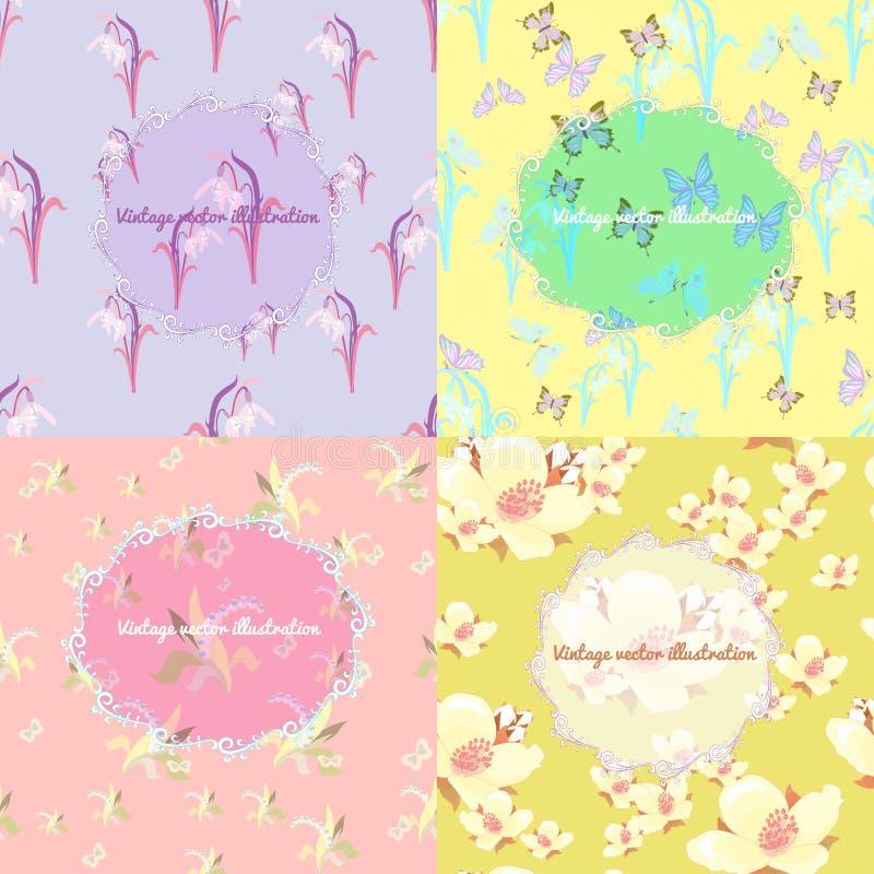 Ensemble de jasmin, papillon, le muguet, perce-neige FO légères illustration de vecteur