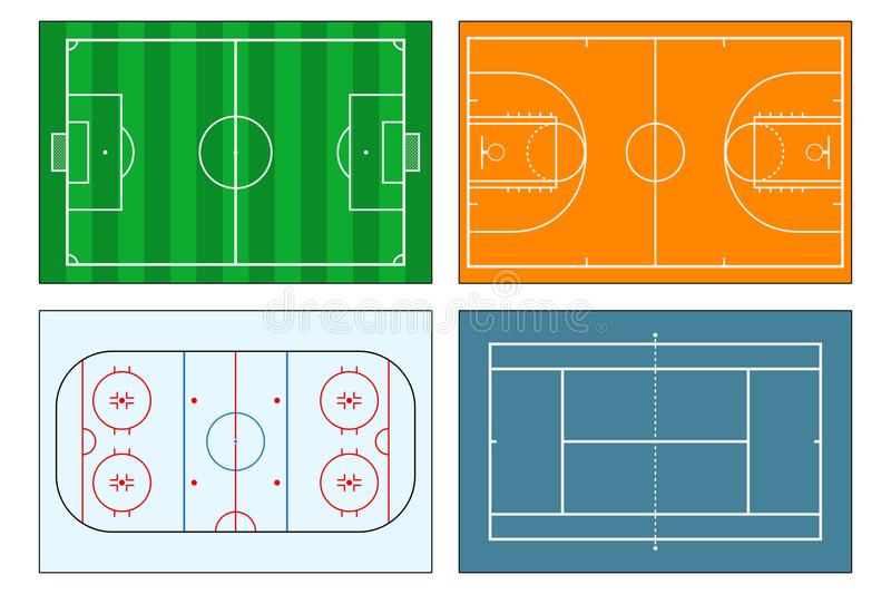 Ensemble de jeu-champs de sports Terrain de football du football, tennis et terrains de basket, piste de hockey sur glace Illustr illustration libre de droits