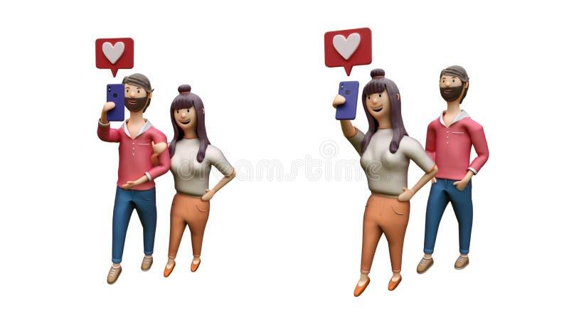 Ensemble de jeunes couples prenant le selfie ensemble, l'amour ou comme l'émoticône illustration stock