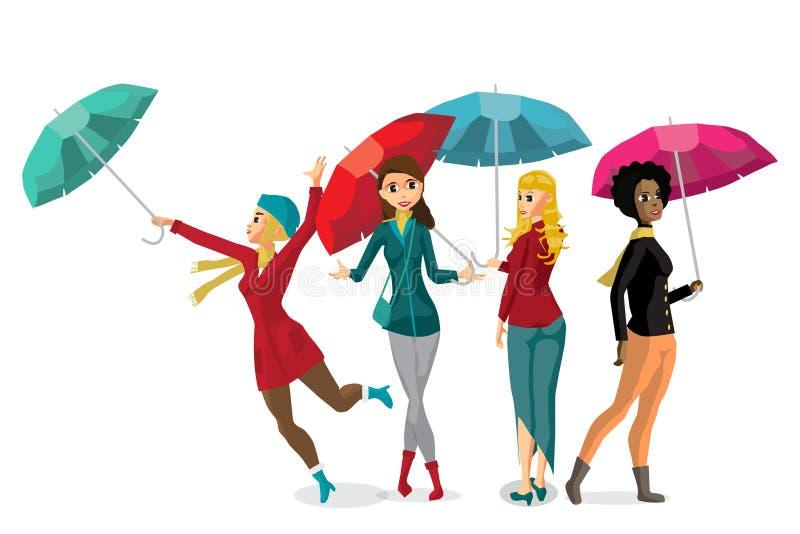 Ensemble de jeunes femmes tenant son parapluie illustration libre de droits