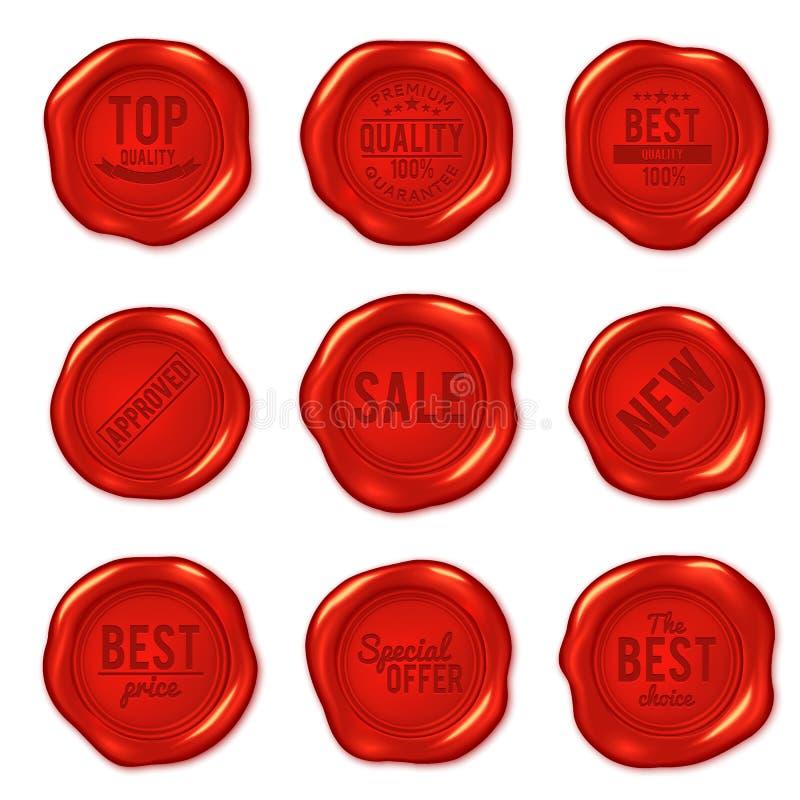 Ensemble de joints rouges de cire de vecteur d'isolement sur le blanc illustration stock
