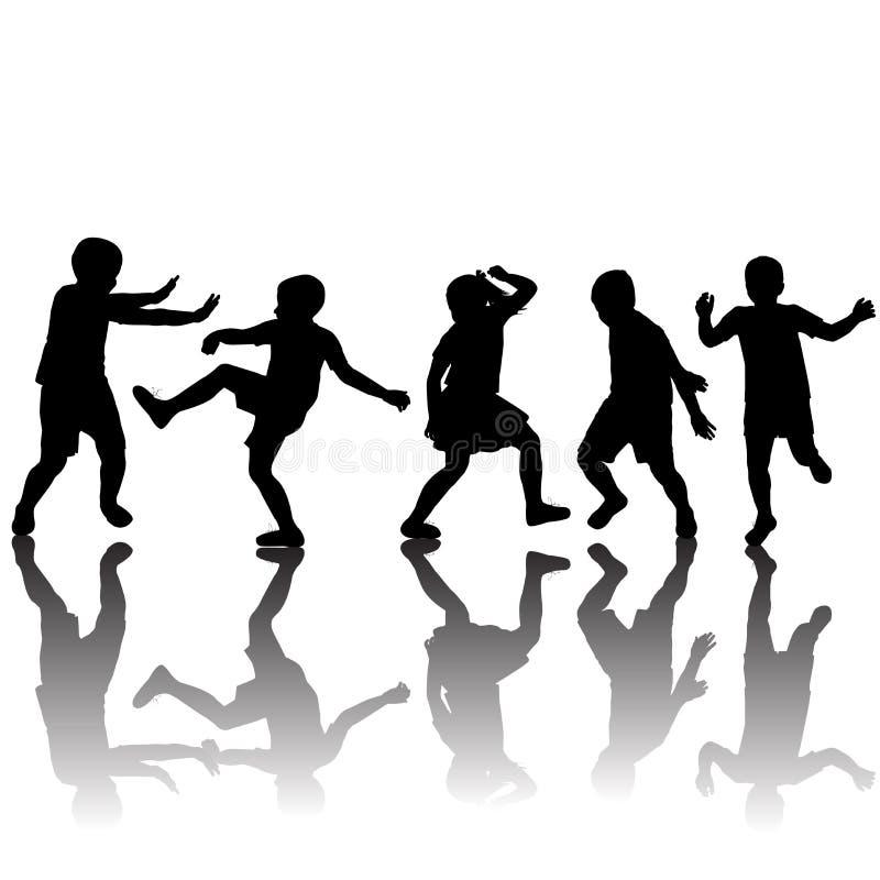 Ensemble de jouer de silhouettes d'enfants illustration libre de droits