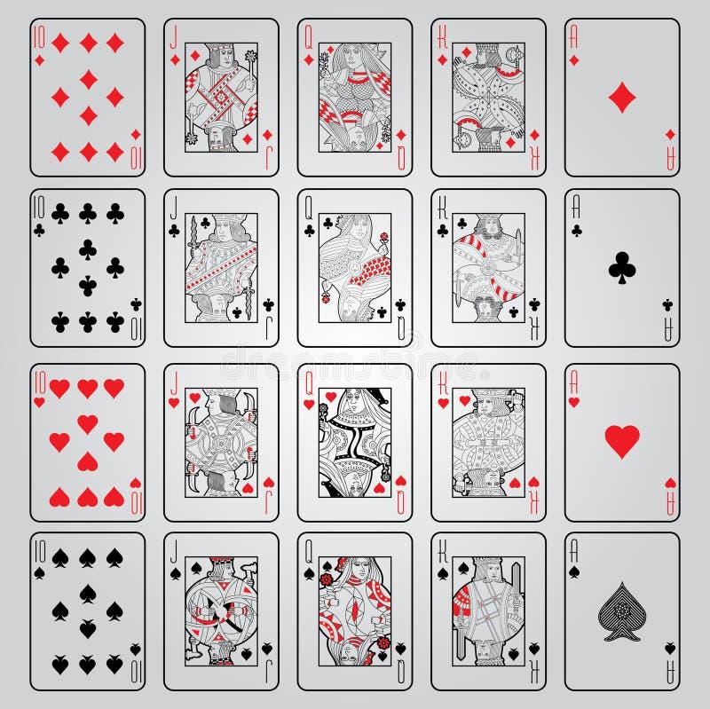 Ensemble de jouer des cartes : Dix, Jack, reine, roi, Ace photo libre de droits