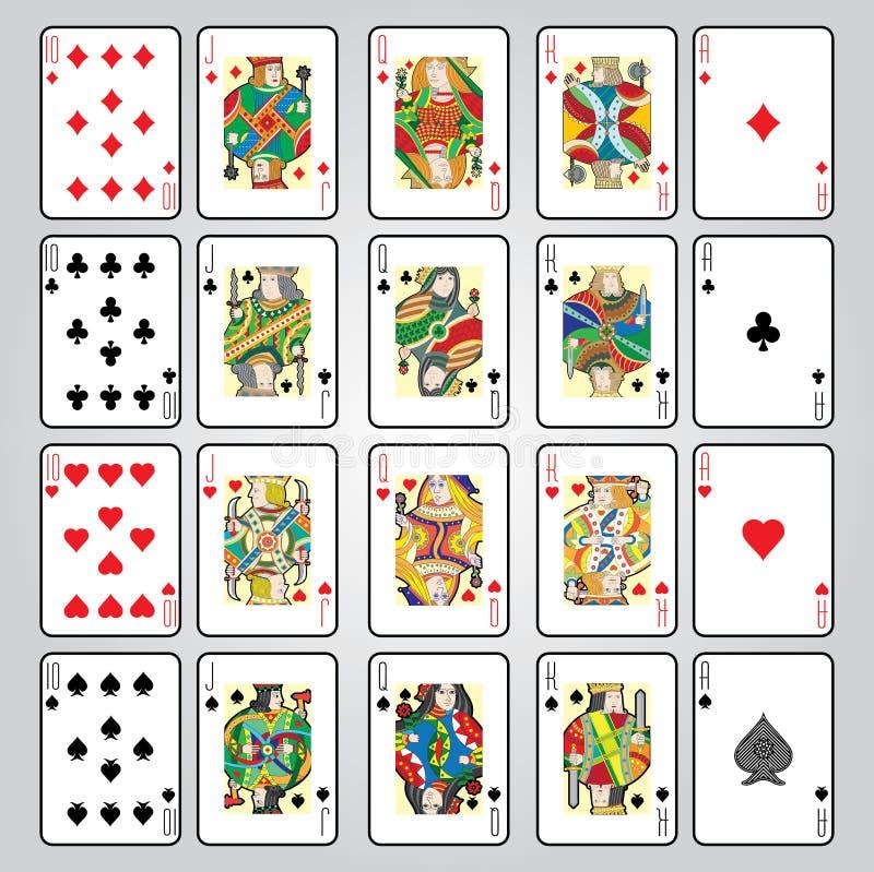 Ensemble de jouer des cartes : Dix, Jack, reine, roi, Ace images libres de droits