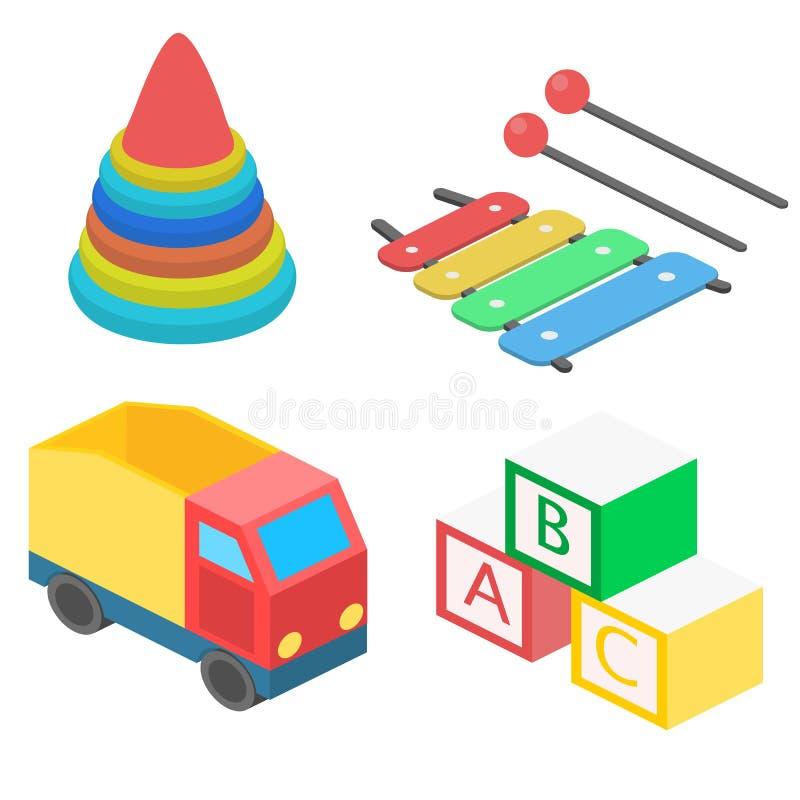 Ensemble de jouets isométriques illustration stock