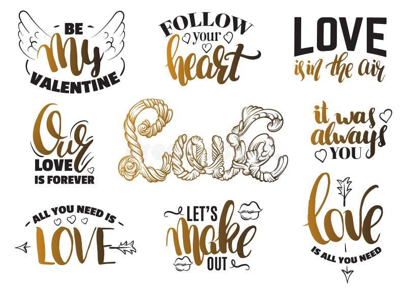 Ensemble de jour du ` s de St Valentine de citations avec le lettrage d'encre écrit par main illustration libre de droits
