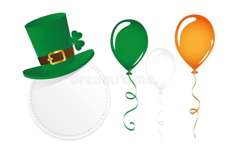 Ensemble de jour de St Patricks avec le trèfle et les ballons ronds de chapeau de label illustration libre de droits