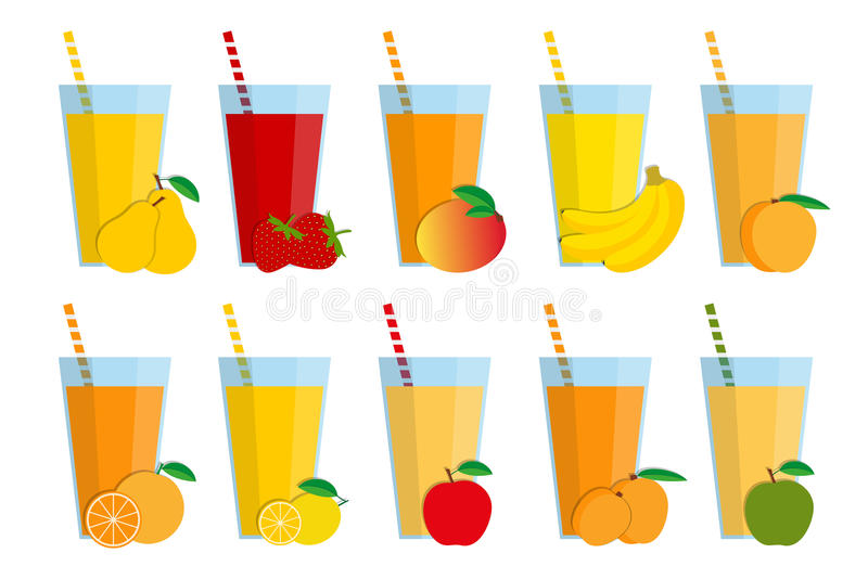 Ensemble de jus de fruit frais et de cocktails, smoothie de fruit illustration libre de droits