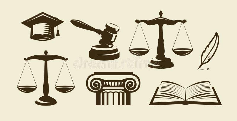 Ensemble de justice d'icônes Avocat, avocat, symbole de loi Illustration de vecteur illustration de vecteur