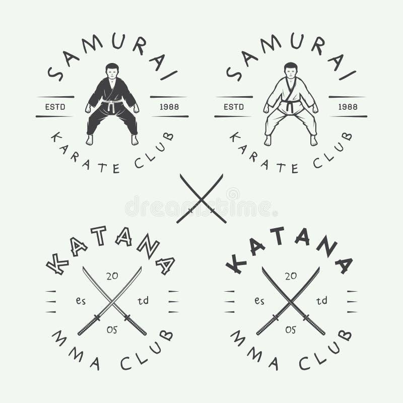 Ensemble de karaté de vintage ou de logo d'arts martiaux, emblème, insigne, label illustration libre de droits