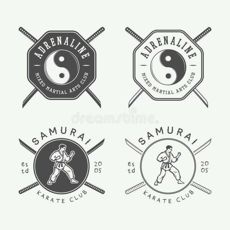Ensemble de karaté de vintage ou de logo d'arts martiaux, emblème, insigne, label illustration de vecteur
