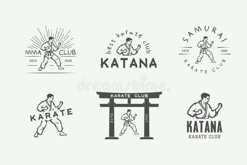Ensemble de karaté de vintage ou de logo d'arts martiaux, emblème, insigne, label illustration stock