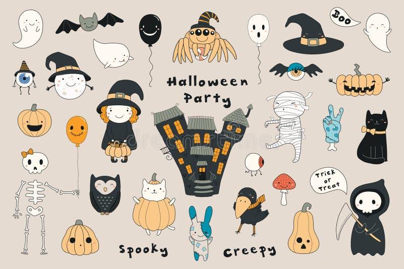 Ensemble de Kawaii Halloween illustration libre de droits