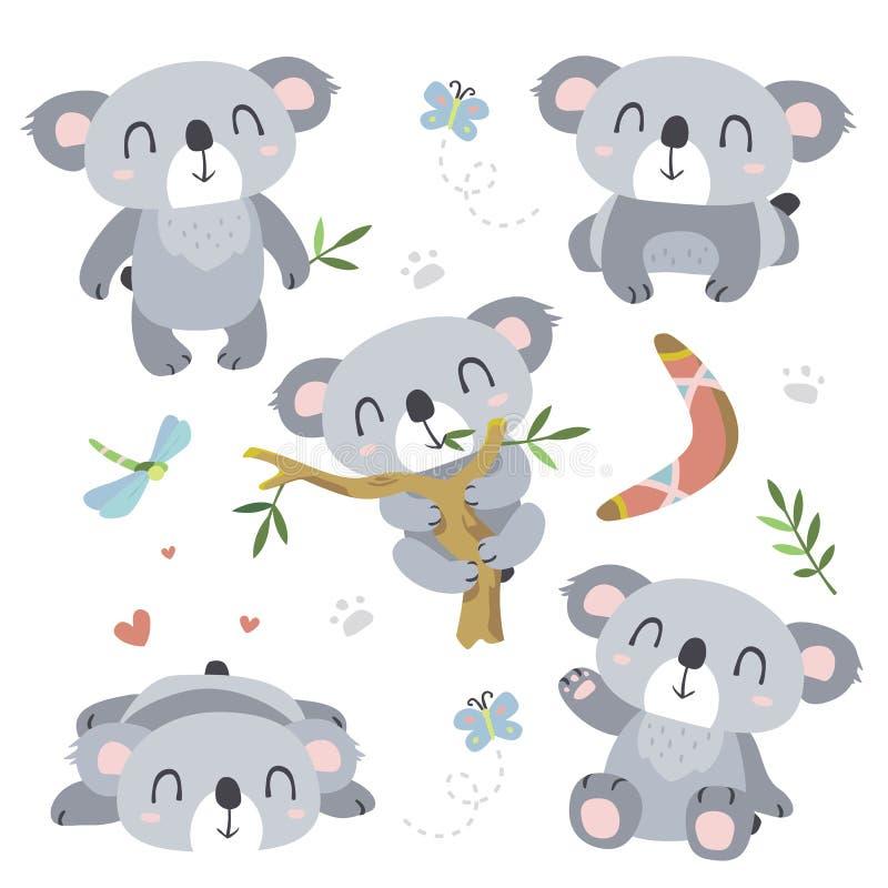 Ensemble de koala de bande dessinée illustration de vecteur