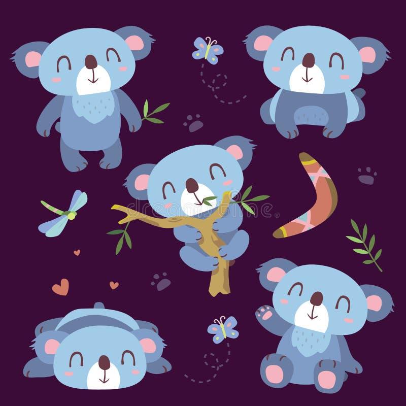 Ensemble de koala de bande dessinée illustration libre de droits