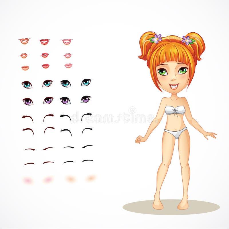 Ensemble de lèvres, de yeux, de sourcils et de cils pour une fille de roux illustration libre de droits