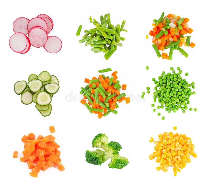 Ensemble de légume congelé différent photos stock
