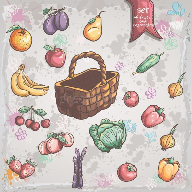 Ensemble de légumes et de fruits avec un panier en osier illustration libre de droits