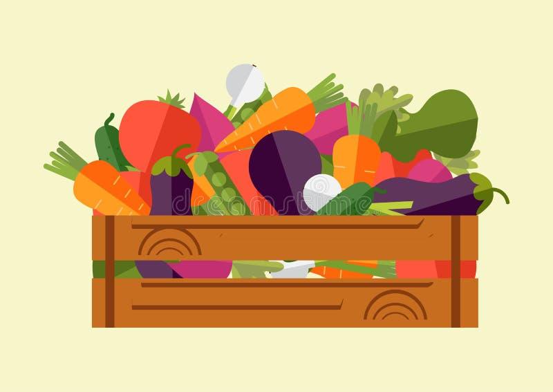 Ensemble de légumes frais dans une boîte en bois Illustration de vecteur, ha illustration stock